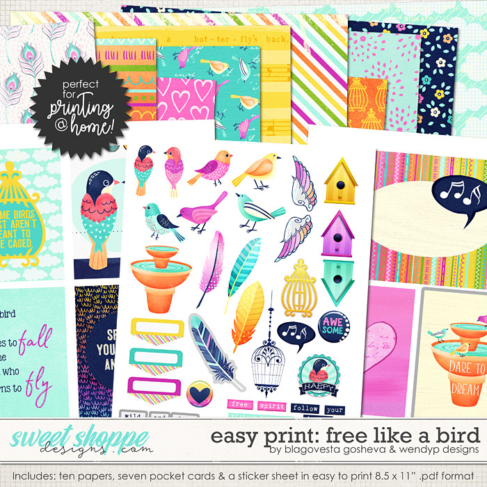 Easy print: Free like a bird by Blagovesta Gosheva & WendyP Designs