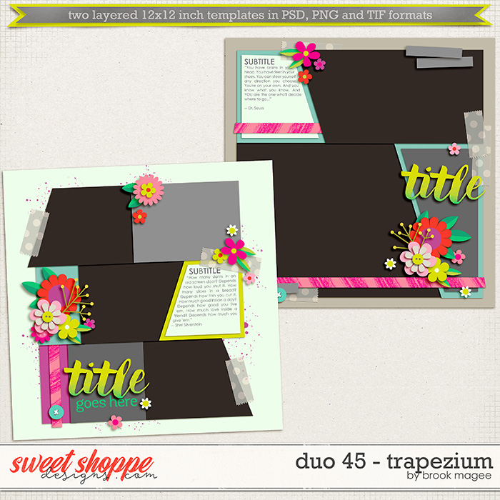 Brook's Templates - Duo 45 - Trapezium by Brook Magee