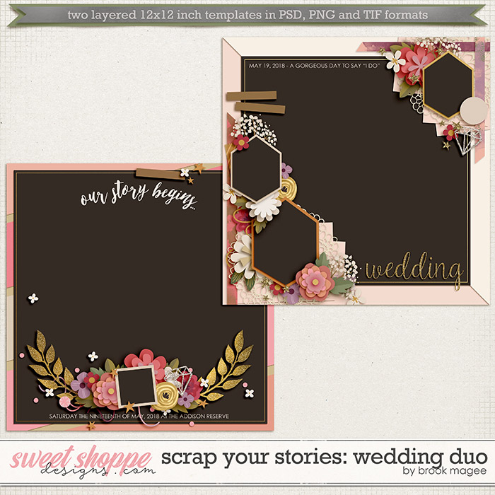 Brook's Templates - Scrap Your Stories: Wedding Duo by Brook Magee