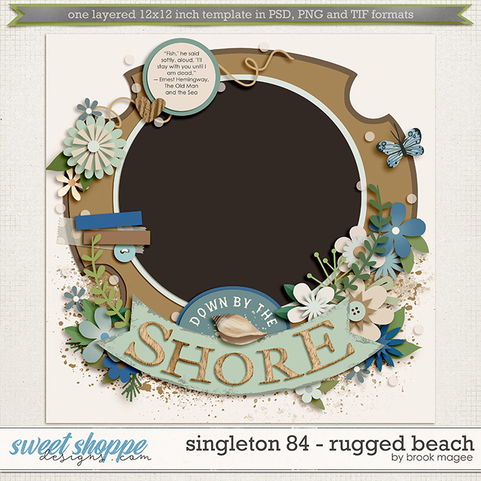 Brook's Templates - Singleton 84 - Rugged Beach by Brook Magee