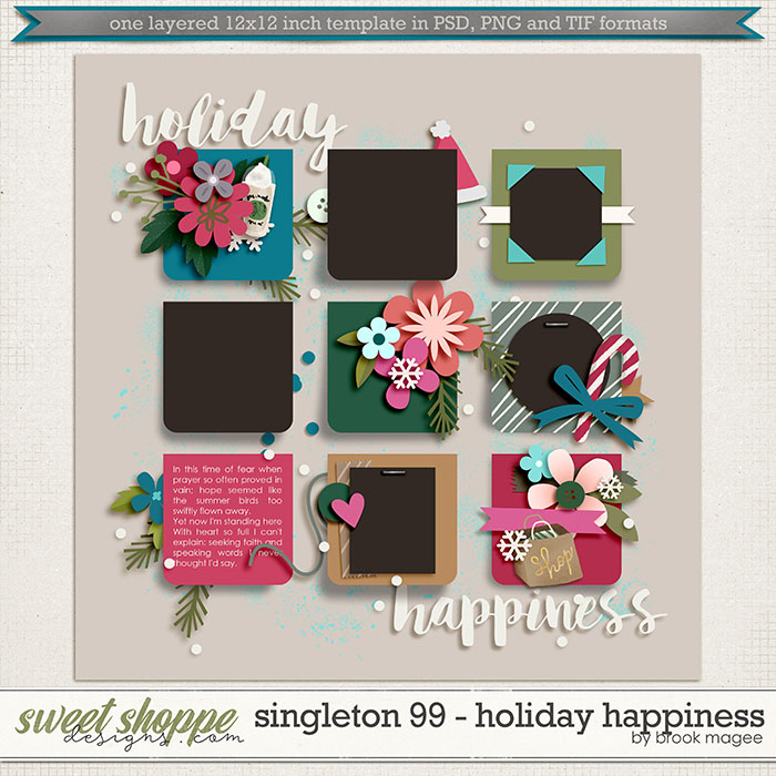 Brook's Templates - Singleton 99 - Holiday Happiness by Brook Magee