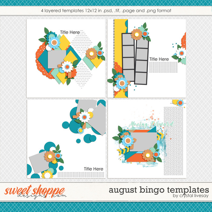 Bingo: August 2018 Templates by Crystal Livesay