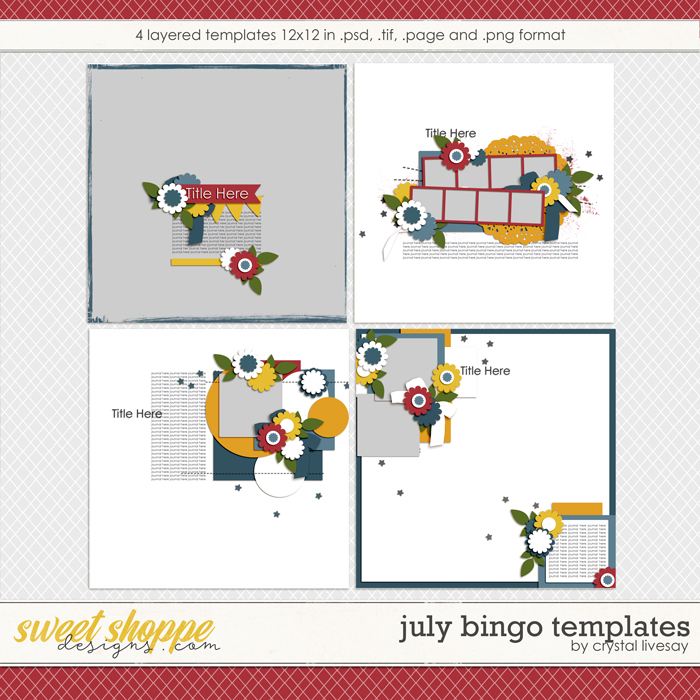 Bingo: July2018 Templates by Crystal Livesay