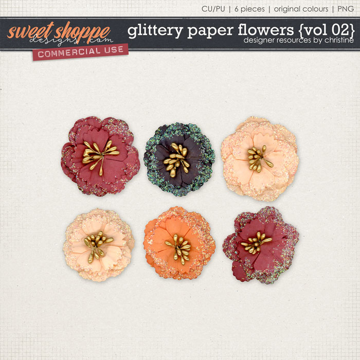 Glittery Paper Flowers {Vol 02} by Christine Mortimer