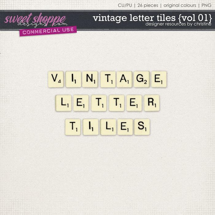 Vintage Letter Tiles {Vol 01} by Christine Mortimer