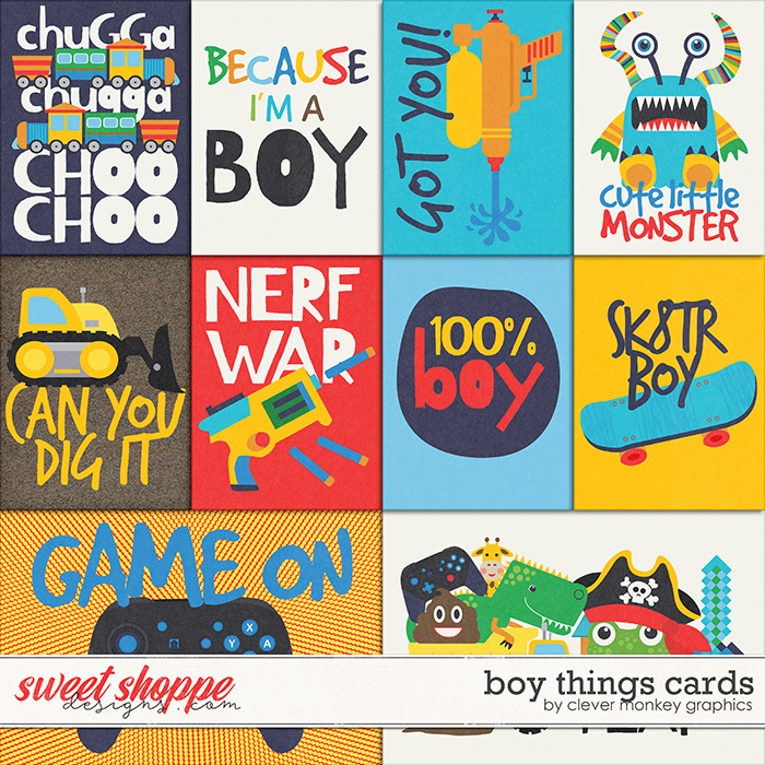 Boy Things Cards by Clever Monkey Graphics