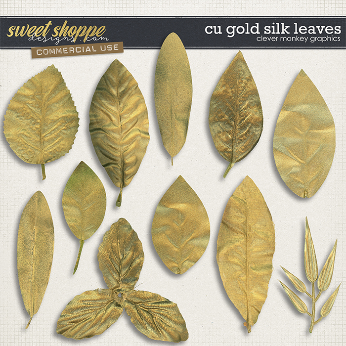 CU Gold Silk Leaves by Clever Monkey Graphics
