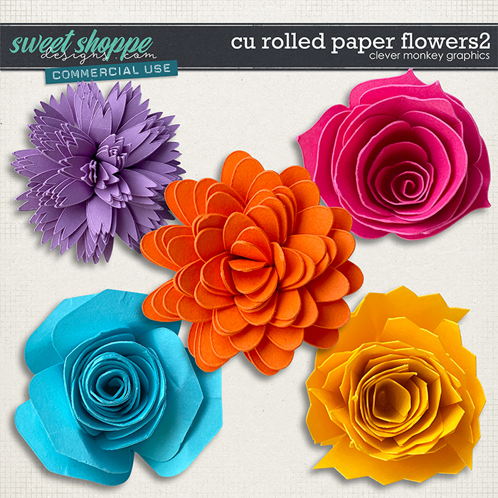 CU Rolled Paper Flowers 2 by Clever Monkey Graphics