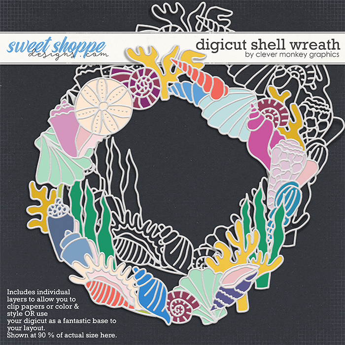 Digicut Shell Wreath by Clever Monkey Graphics