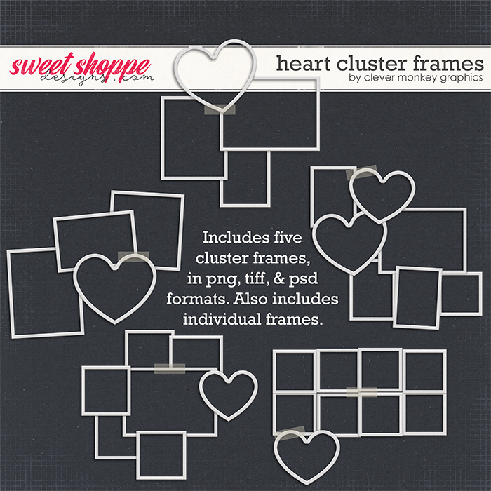 Heart Cluster Frames by Clever Monkey Graphics