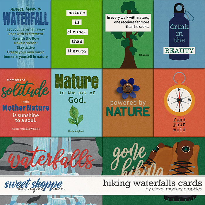 Hiking Waterfalls Cards by Clever Monkey Graphics