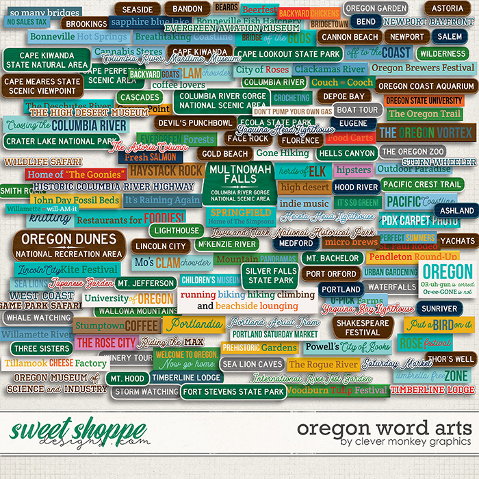 Oregon Word Arts by Clever Monkey Graphics