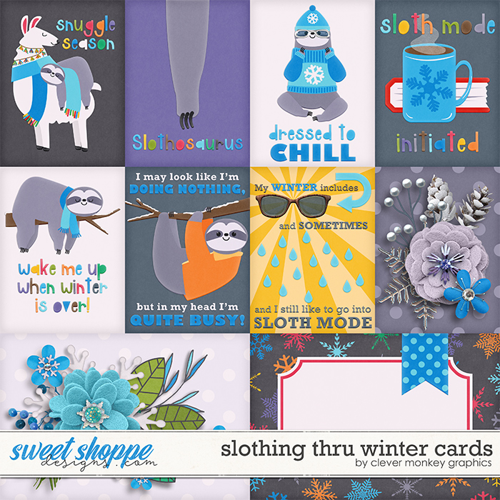 Slothing thru Winter Cards by Clever Monkey Graphics