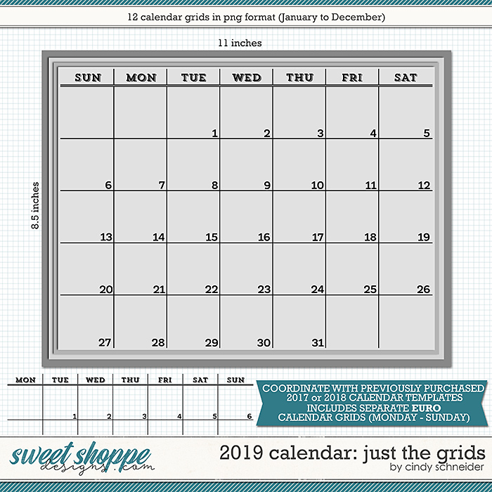 Cindy's Layered Templates - 2019 Calendar: Just the Grids by Cindy Schneider