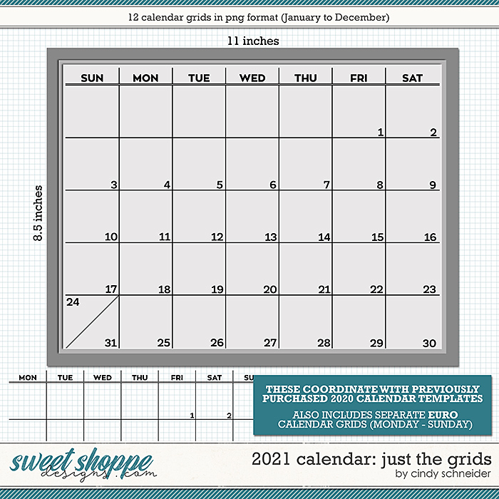 Cindy's Layered Templates - 2021 Calendar: Just the Grids by Cindy Schneider