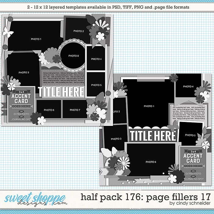 Cindy's Layered Templates - Half Pack 176: Page Fillers 17 by Cindy Schneider