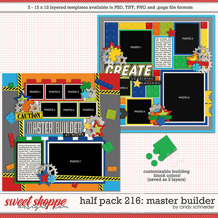 Cindy's Layered Templates - Half Pack 216: Master Builder by Cindy Schneider