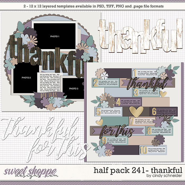 Cindy's Layered Templates - Half Pack 241: Thankful by Cindy Schneider