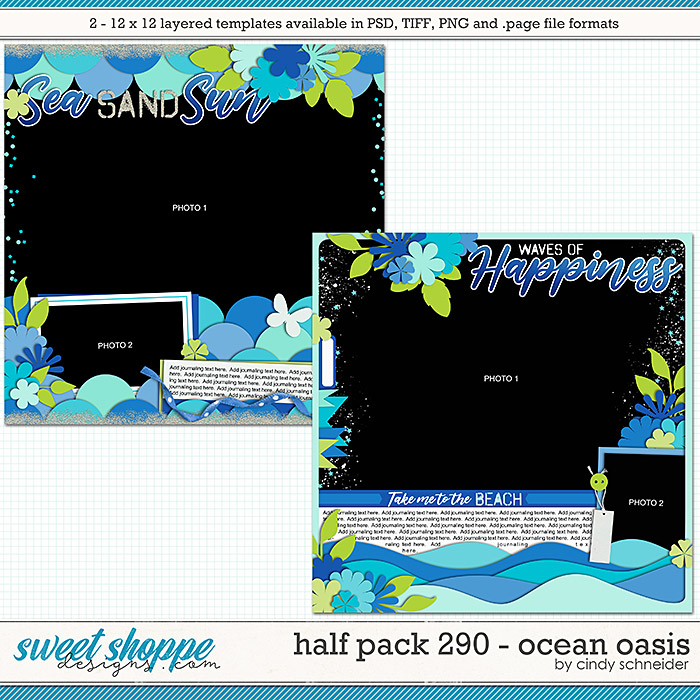Cindy's Layered Templates - Half Pack 290: Ocean Oasis by Cindy Schneider