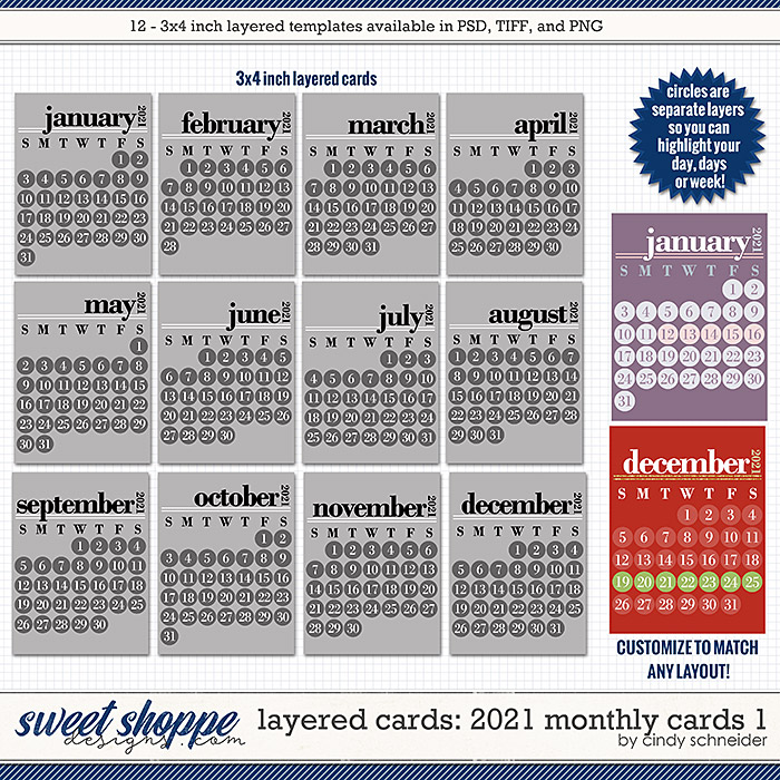Cindy's Layered Cards - 2021 Monthly Cards by Cindy Schneider
