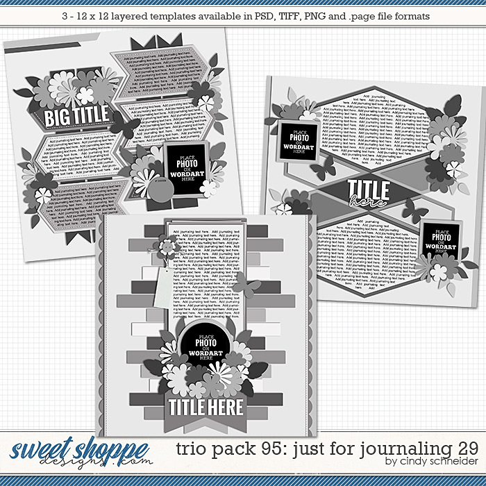 Cindy's Layered Templates - Trio Pack 95: Just for Journaling 29 by Cindy Schneider
