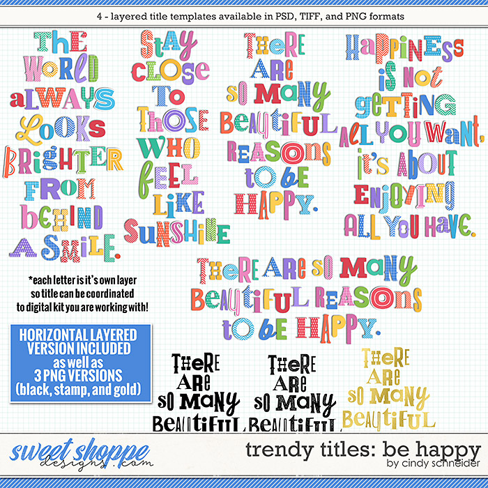 Cindy's Layered Templates - Trendy Titles: Be Happy by Cindy Schneider
