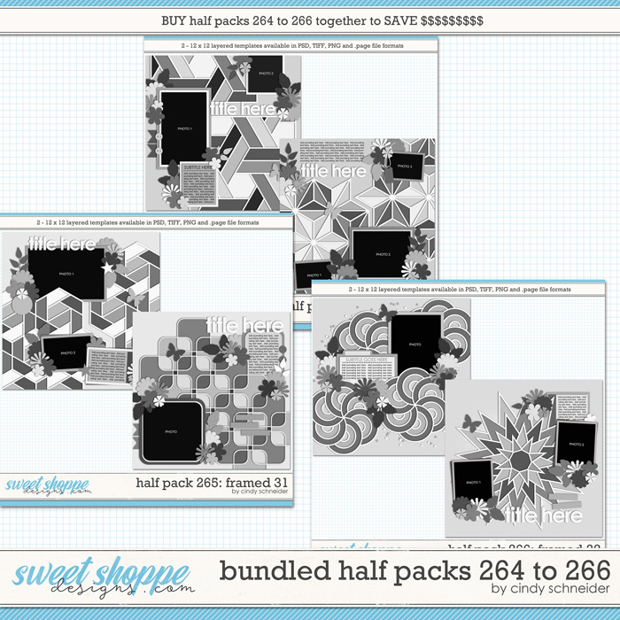 Cindy's Layered Templates - Bundled Half Packs #264 to 266 by Cindy Schneider