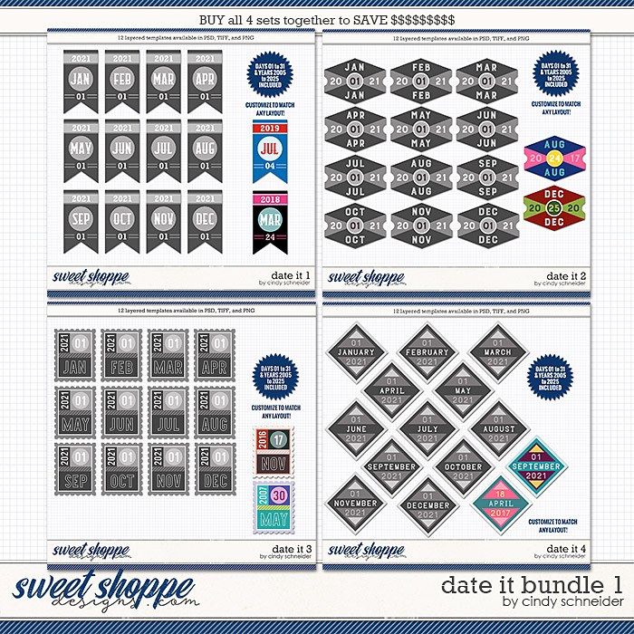Cindy's Layered Templates - Date It Bundle 1 by Cindy Schneider