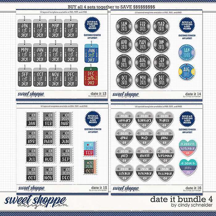 Cindy's Layered Templates - Date It Bundle 4 by Cindy Schneider