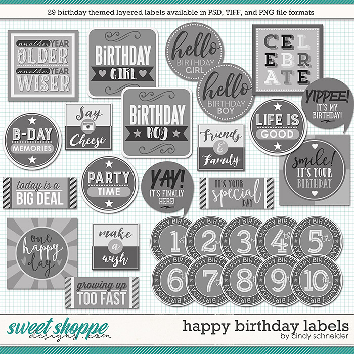Cindy's Layered Labels: Happy Birthday by Cindy Schneider