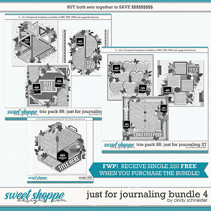 Cindy's Layered Templates - Just for Journaling Bundle 4 +FWP by Cindy Schneider