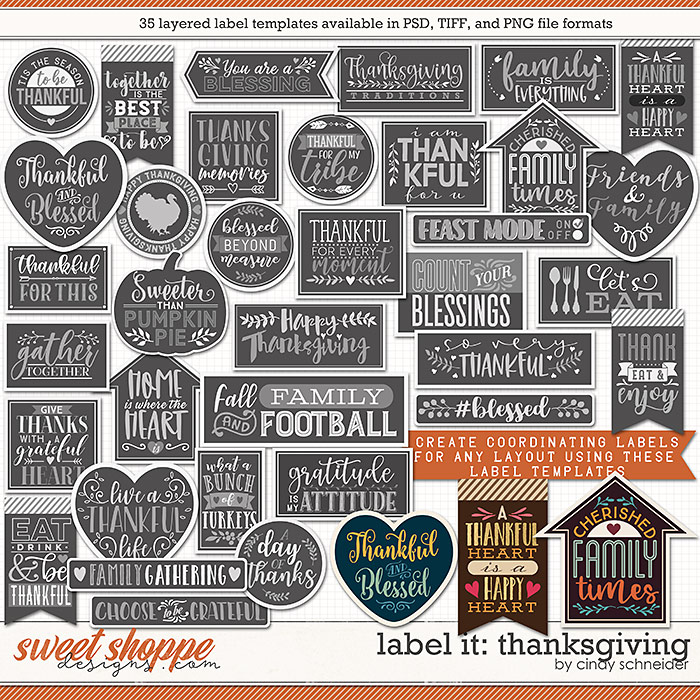Cindy's Layered Templates - Label It: Thanksgiving by Cindy Schneider
