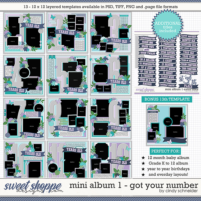 Cindy's Layered Templates - Mini Album 1: Got Your Number by Cindy Schneider