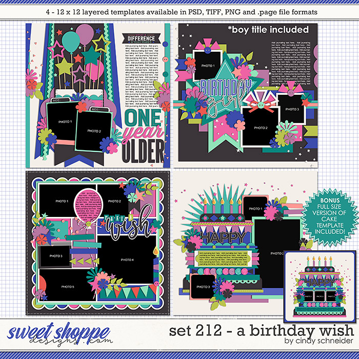 Cindy's Layered Templates - Set 212: A Birthday Wish by Cindy Schneider