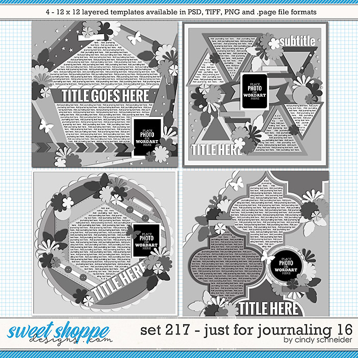 Cindy's Layered Templates - Set 217: Just for Journaling 16 by Cindy Schneider