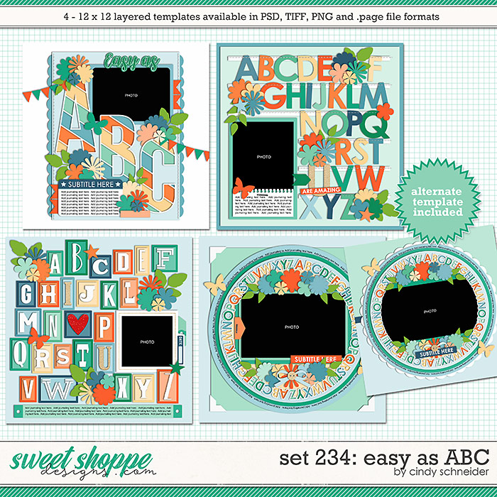 Cindy's Layered Templates - Set 234: Easy as ABC by Cindy Schneider