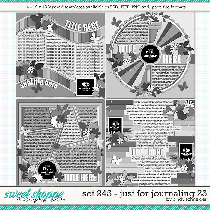 Cindy's Layered Templates - Set 245: Just for Journaling 25 by Cindy Schneider