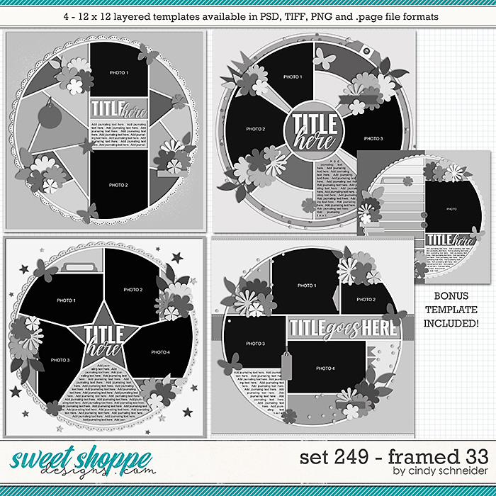 Cindy's Layered Templates - Set 249: Framed 33 by Cindy Schneider +BONUS!