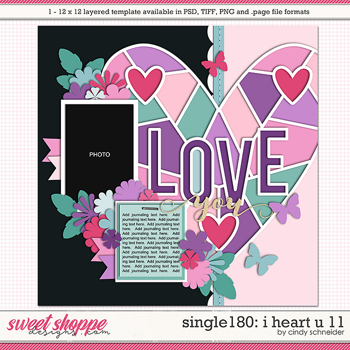 Cindy's Layered Templates - Single 180: I Heart U 11 by Cindy Schneider