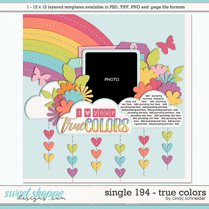 Cindy's Layered Templates - Single 194: True Colors by Cindy Schneider