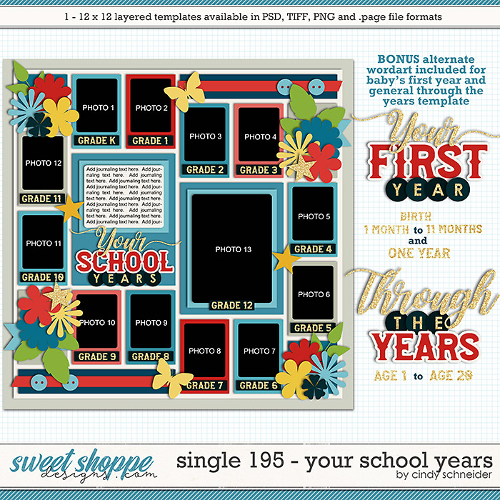 Cindy's Layered Templates - Single 195: Your School Years by Cindy Schneider