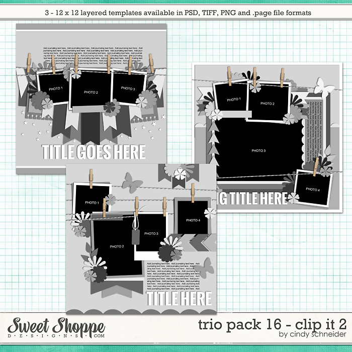 Cindy's Layered Templates - Trio Pack 16: Clip It 2 by Cindy Schneider