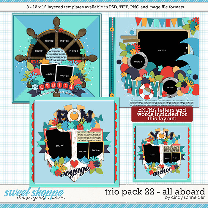 Cindy's Layered Templates - Trio Pack 22: All Aboard by Cindy Schneider