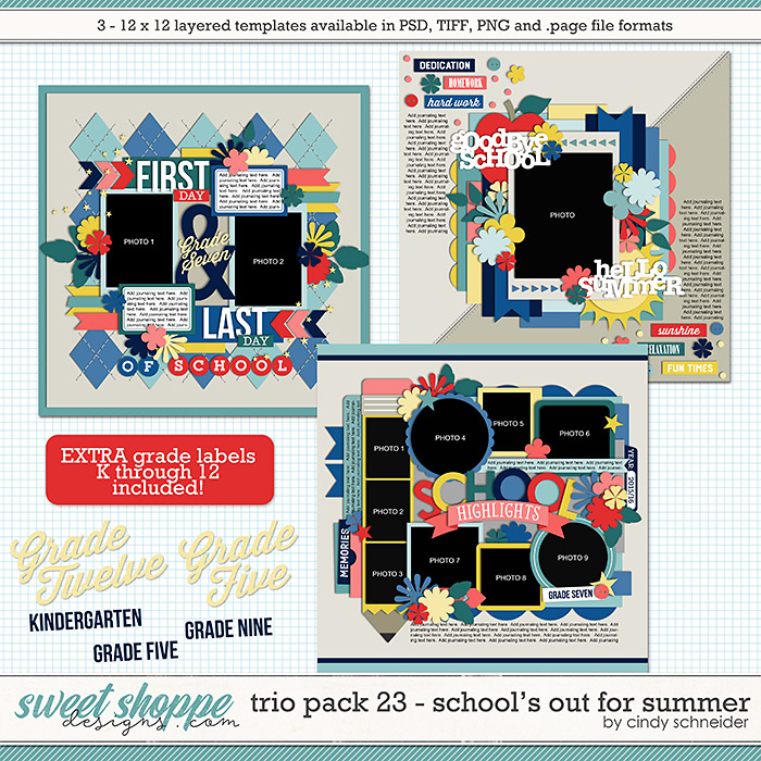 Cindy's Layered Templates - Trio Pack 23: School's Out for Summer by Cindy Schneider
