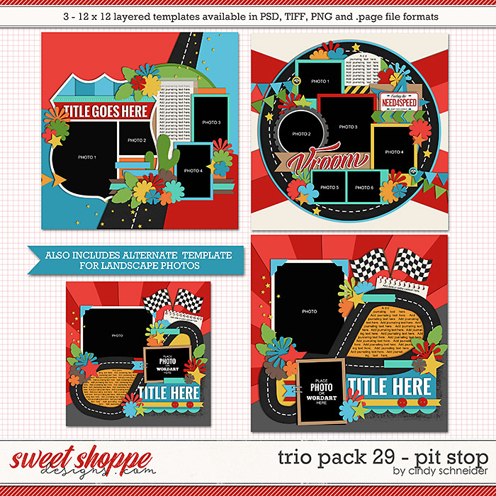 Cindy's Layered Templates - Trio Pack 29: Pit Stop by Cindy Schneider