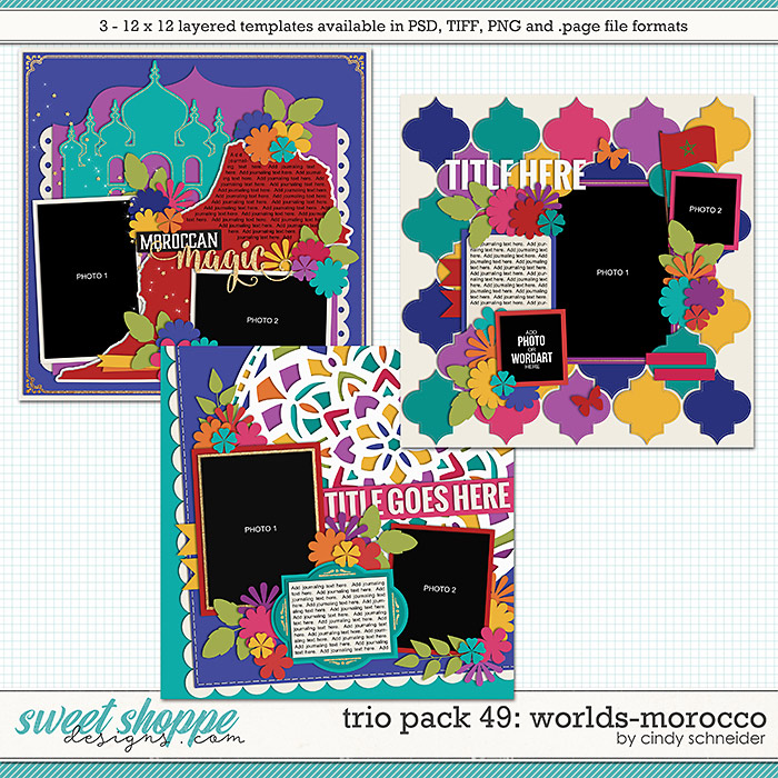 Cindy's Layered Templates - Trio Pack 49: Worlds-Morocco by Cindy Schneider
