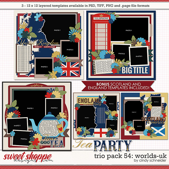 Cindy's Layered Templates - Trio Pack 54: Worlds-UK by Cindy Schneider