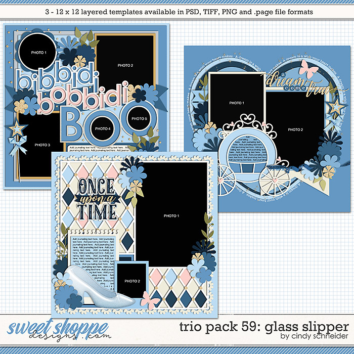 Cindy's Layered Templates - Trio Pack 59: Glass Slipper by Cindy Schneider