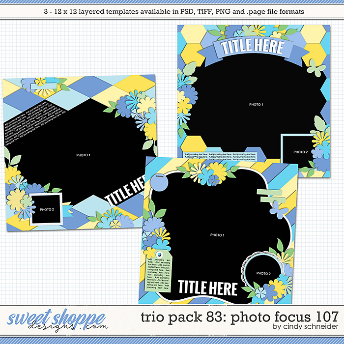 Cindy's Layered Templates - Trio Pack 83: Photo Focus 107 by Cindy Schneider