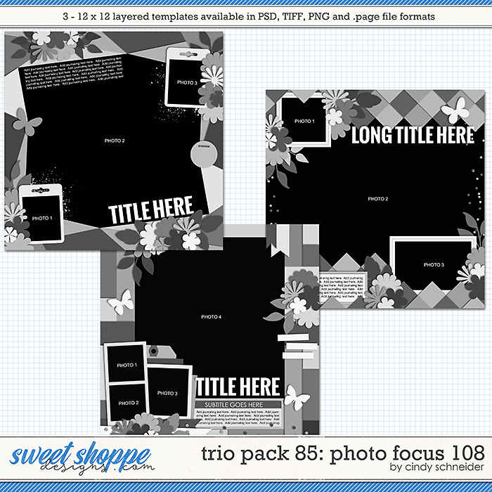 Cindy's Layered Templates - Trio Pack 85: Photo Focus 108 by Cindy Schneider